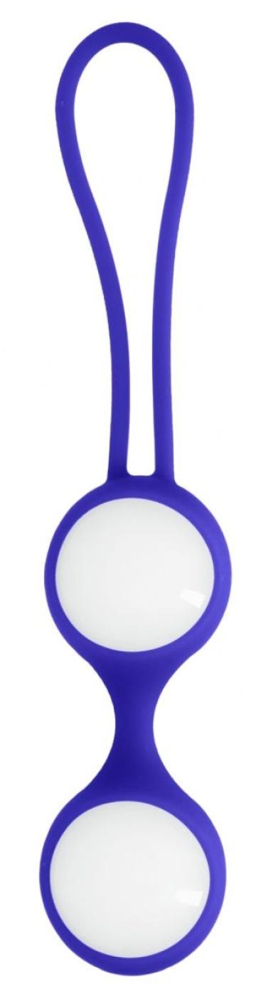 Белые стеклянные вагинальные шарики Ben Wa Medium в синей оболочке