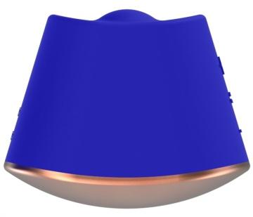 Синий клиторальный стимулятор Dazzling с вибрацией и ротацией - 6,7 см.