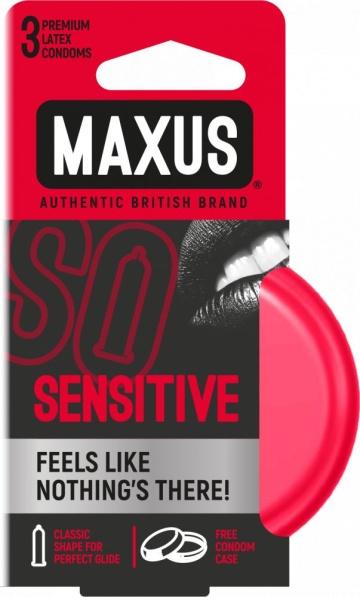 Ультратонкие презервативы в железном кейсе MAXUS Sensitive - 3 шт.