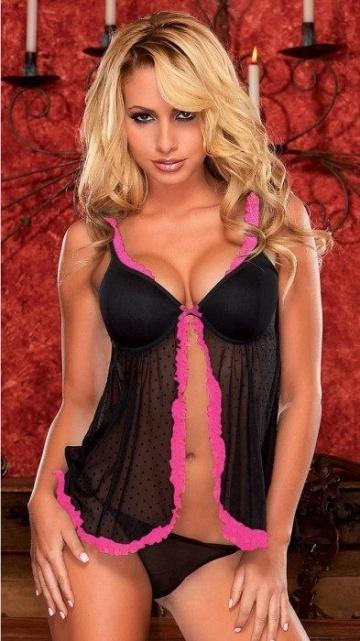 Сорочка бэби-долл с окантовкой розовой тесьмой