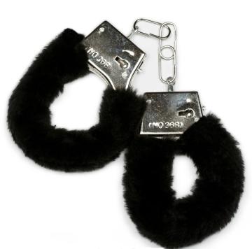 Металлические наручники с черной опушкой и ключиком