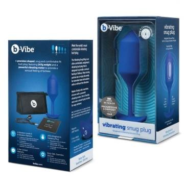 Синяя пробка для ношения с вибрацией Snug Plug 4 - 14 см.