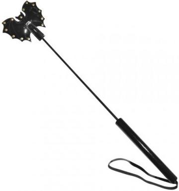 Стек с черным лаковым кожаным шлепком в виде летучей мыши - 60 см.