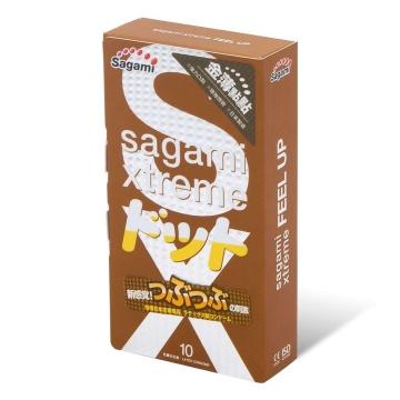 Презервативы Sagami Xtreme Feel Up с точечной текстурой и линиями прилегания - 10 шт.