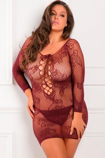 Короткое ажурное женское платье на шнуровке