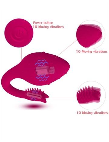 Малиновый вибратор-клубничка с хвостиком - 9,6 см.