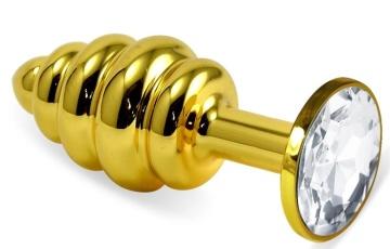 Золотистая ребристая анальная пробка с прозрачным кристаллом - 7,5 см.