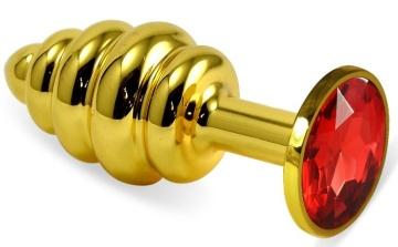 Золотистая ребристая анальная пробка с красным кристаллом - 7,5 см.