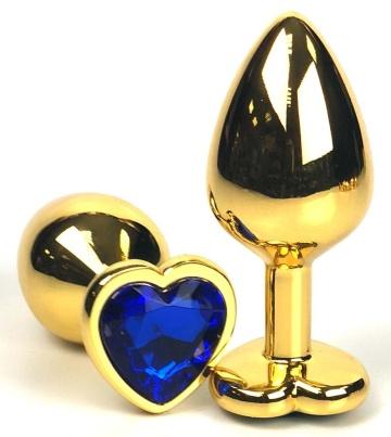 Золотистая анальная пробка с синим кристаллом-сердцем - 6 см.