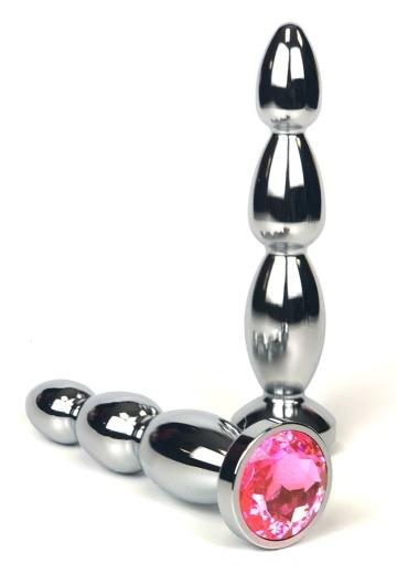 Серебристая анальная ёлочка с нежно-розовым кристаллом - 12 см.