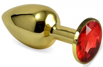 Золотистая анальная пробка с красным кристаллом - 8 см.