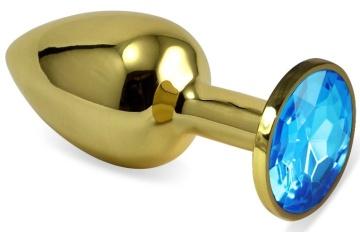Золотистая анальная пробка с голубым кристаллом - 6,5 см.