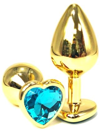 Золотистая анальная пробка с голубым кристаллом-сердцем - 6 см.