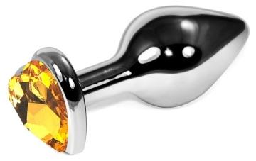 Серебристая анальная пробочка с оранжевым кристаллом-сердцем - 9 см.
