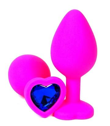 Розовая силиконовая пробка с синим кристаллом-сердцем - 8,5 см.