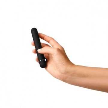 Черный мини-вибратор Le Wand Baton с текстурированной насадкой - 11,9 см.