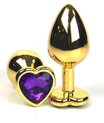 Золотистая анальная пробка с фиолетовым кристаллом-сердцем - 7 см.