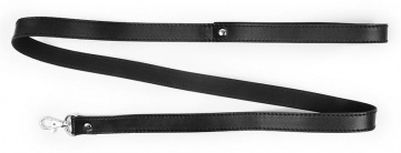 Черный гладкий поводок для ошейника с карабином - 112 см.