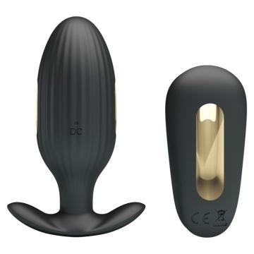 Черная анальная вибропробка с электростимуляцией и пультом ДУ Royal Pleasure - 9,2 см.