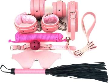 Набор БДСМ в розовом цвете: наручники, поножи, кляп, ошейник с поводком, маска, веревка, плеть