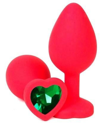Красная силиконовая анальная пробка с зеленым стразом-сердцем - 10,5 см.