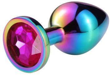 Разноцветная гладкая анальная пробка с розовым кристаллом - 7,5 см.