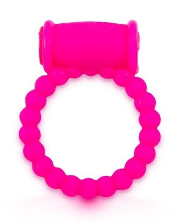 Розовое малоэластичное эрекционное кольцо с вибрацией