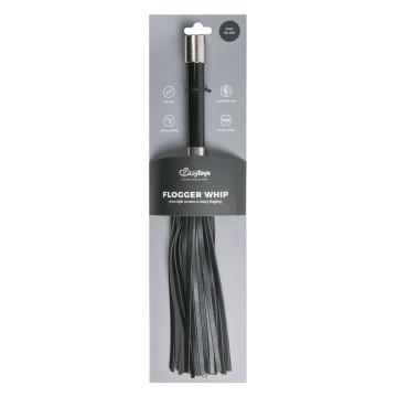 Черная плеть Easytoys Flogger With Metal Grip - 38 см.