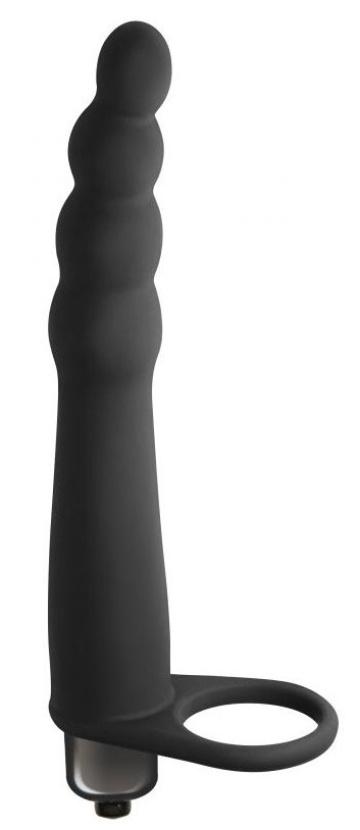 Черная вибронасадка для двойного проникновения Bramble - 16,5 см.