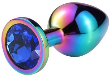 Разноцветная гладкая анальная пробка с синим кристаллом - 7,5 см.