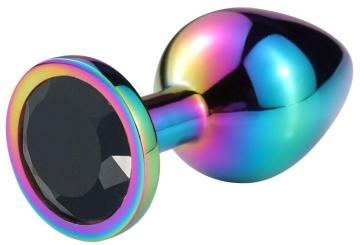 Разноцветная гладкая анальная пробка с черным кристаллом - 8 см.