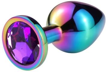Разноцветная гладкая анальная пробка с фиолетовым кристаллом - 9,5 см.