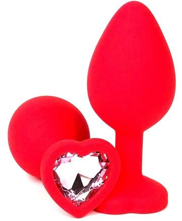 Красная силиконовая анальная пробка с нежно-розовым стразом-сердцем - 10,5 см.