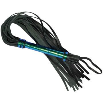 Черная плеть с голографической ручкой - 63 см.
