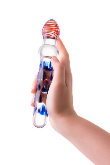 Стеклянный двусторонний фаллоимитатор с шишечками - 20 см.