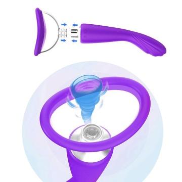 Фиолетовый вибратор с вакуумной чашей Alon - 22 см.