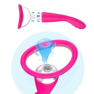 Розовый вибратор с вакуумной чашей Alon - 22 см.