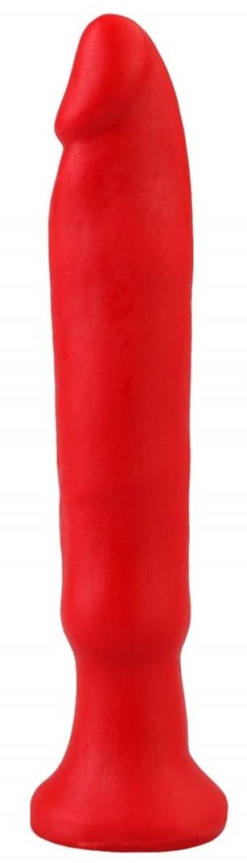 Красный анальный стимулятор без мошонки - 14 см.