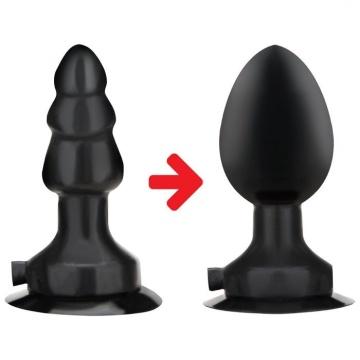 Черная надувная вибропробка на присоске - 10 см.