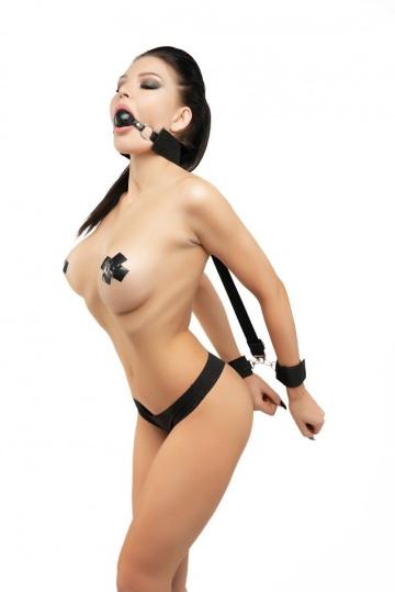 Набор черных строп для фиксации с кляпом-шариком