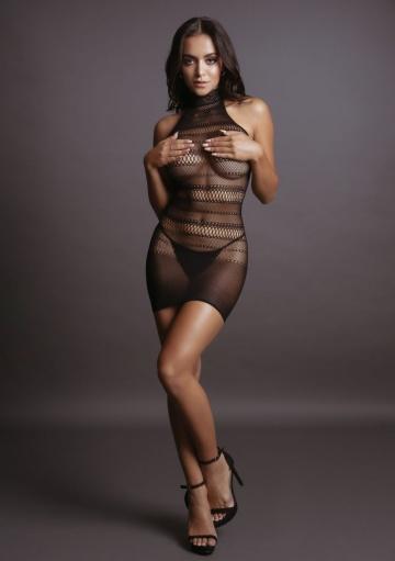 Эффектное мини-платье с высоким воротником High Lace Neck Net Mini Dress