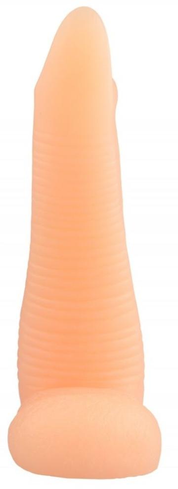 Телесная рельефная реалистичная анальная втулка - 22 см.