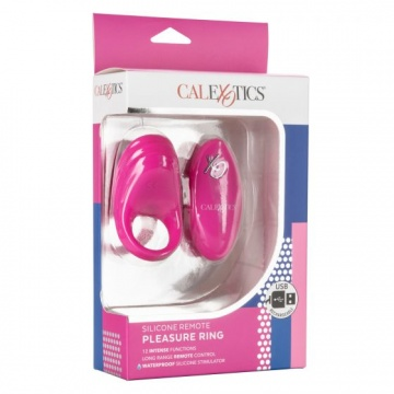 Розовое эрекционное виброкольцо с пультом Silicone Remote Pleasure Ring