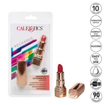 Золотистый вибратор-помада с красным мягким кончиком Hide & Play Rechargeable Lipstick
