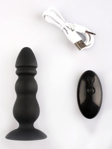 Черный конический анальный виброплаг - 11,3 см.