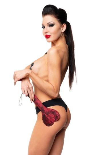 Красная шлепалка-сердечко с цветочным принтом - 28 см.