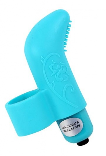 Голубая вибронасадка на палец MisSweet - 7,4 см.
