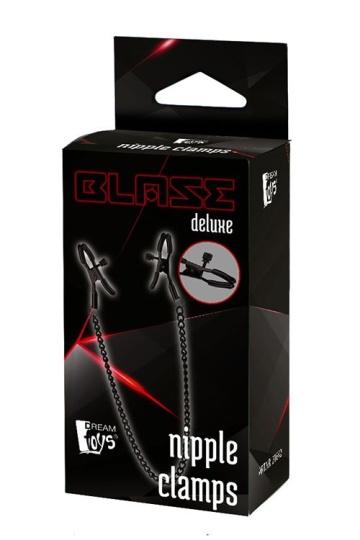 Черные зажимы на соски на цепочке BLAZE DELUXE NIPPLE CLAMPS