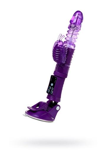 Фиолетовый вибратор-кролик на присоске - 23,5 см.