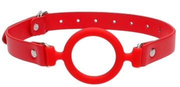 Красный кляп-кольцо с кожаными ремешками  Silicone Ring Gag with Leather Straps